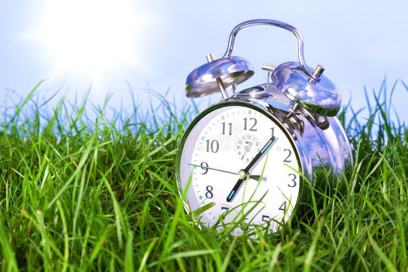 Download Morning Alarm Clock On Grass Stock Photo - Image: 24367294
