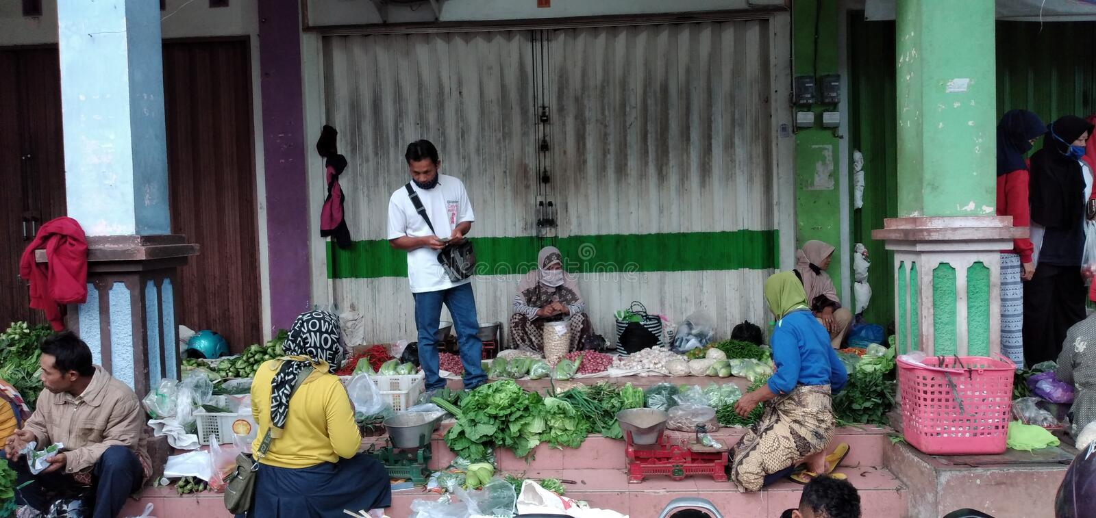 Temanggung central java, indinesia, July 25,2020: Morning atmosphere in a traditional market. stock photo