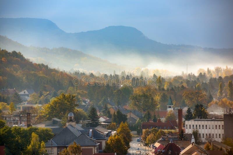 Morning autumn scenery of Esztergom, Hungary royalty free stock photos