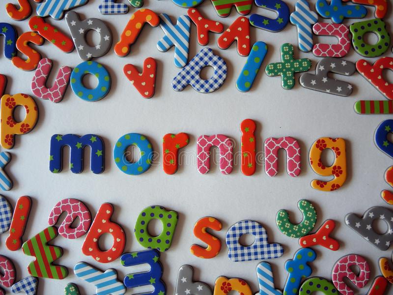 Morning banner with colorful letters. Morning banner with colorful lower case letters on white background stock photography