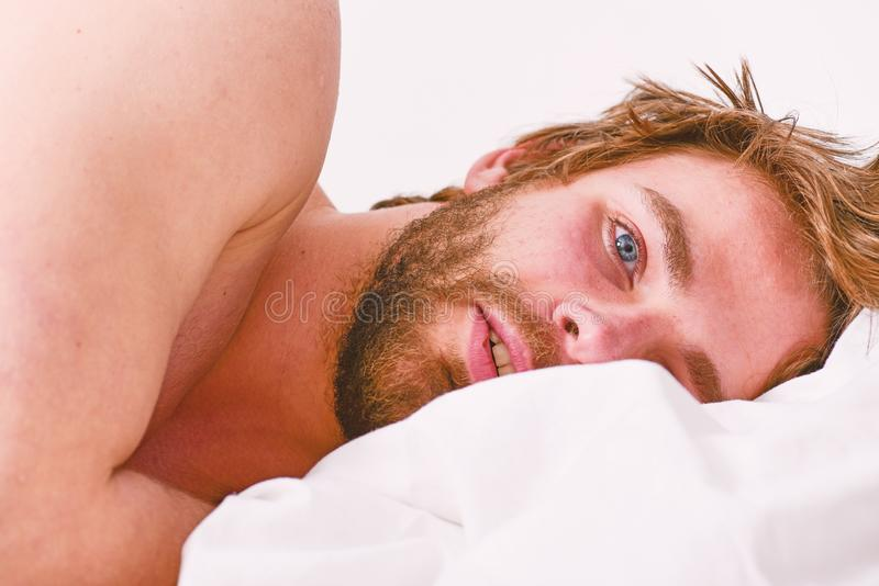 Morning beauty routine checklist. Essential practices beauty routine. Your beauty schedule. Macho attractive appearance. Care about beauty. Man handsome bearded stock photography