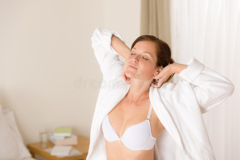 Download Morning Bedroom - Woman In Bathrobe And Bra Stock Image - Image: 17005071
