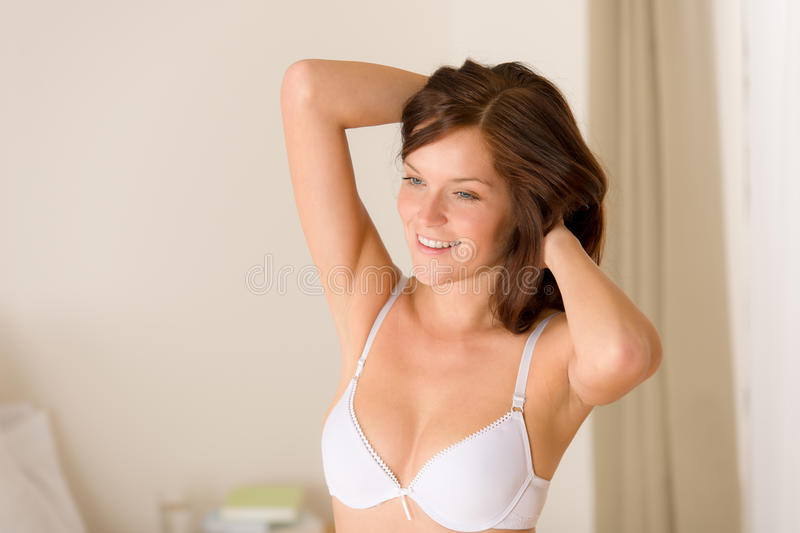 Morning Bedroom - Woman In Lingerie Waking Up Stock Photos