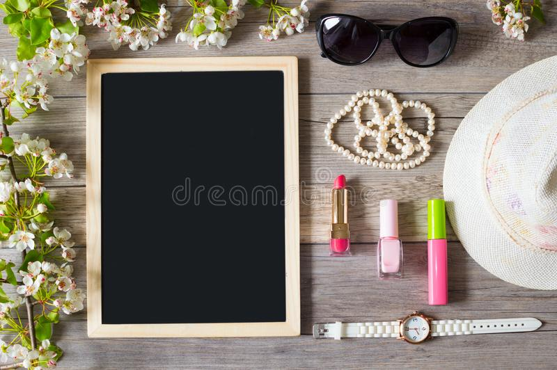 Morning begins with a good mood, cosmetics and stylish accessories royalty free stock images