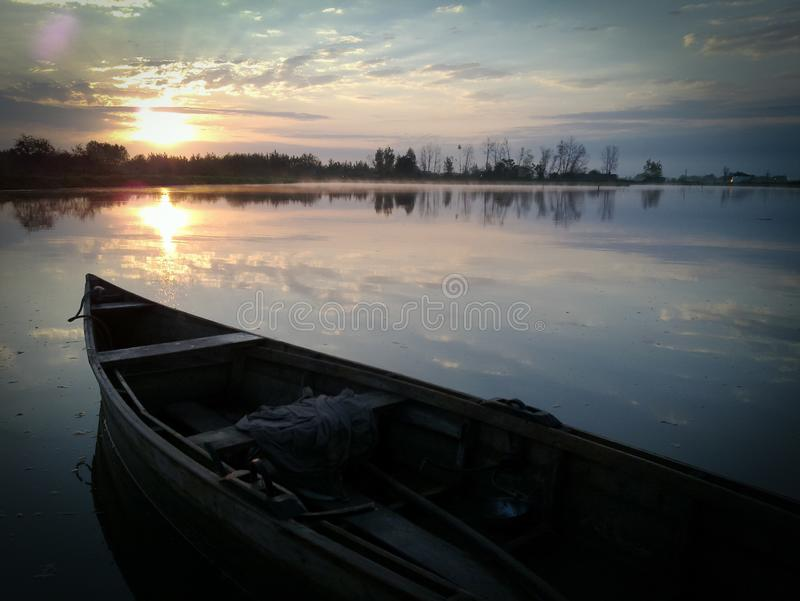 Morning Boat in pool Sunrise.  royalty free stock images