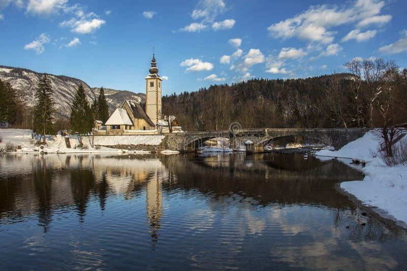 Morning in the Bohnij Lake royalty free stock photo