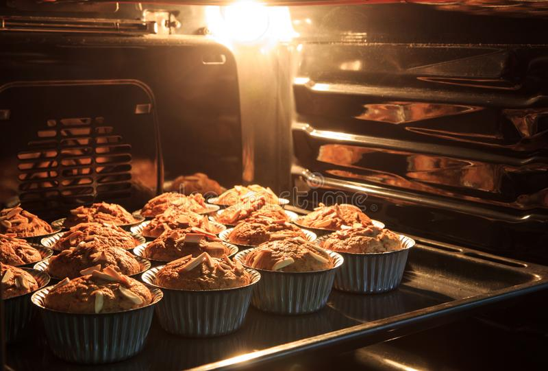 Morning breakfast Banana cake in hot oven that have good taste a stock images