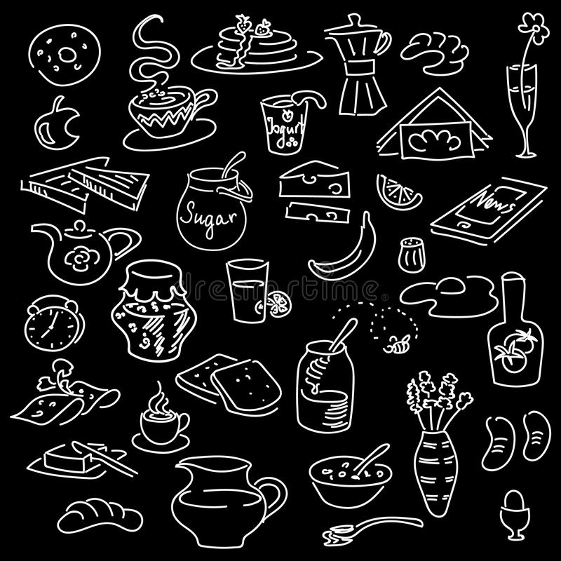 Morning breakfast doodle on black. Chalk board style. sketch vector illustration