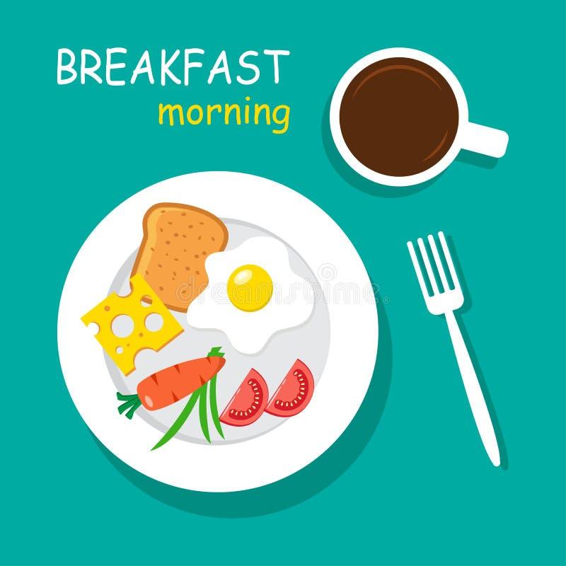 Morning breakfast top view. Vector royalty free illustration