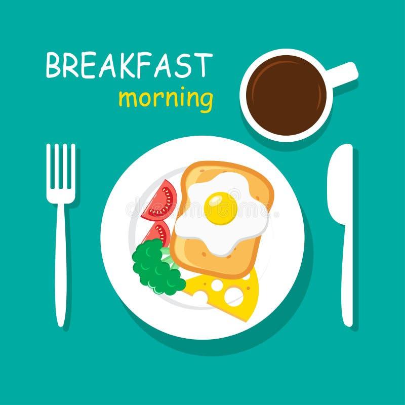 Morning breakfast top view. Vector illustration royalty free illustration