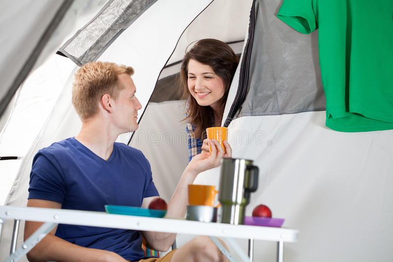 Morning on a camping royalty free stock image