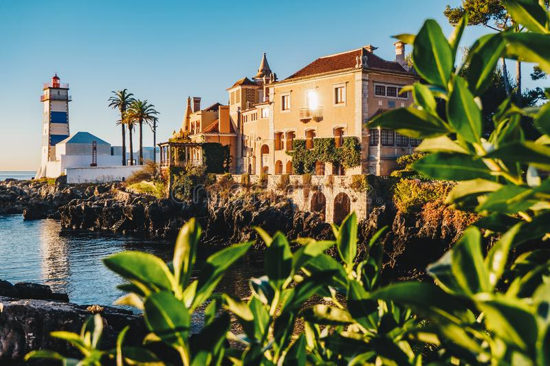 Morning in Cascais, Portugal with the famous Santa Marta Lighthouse and Museums visible royalty free stock photos