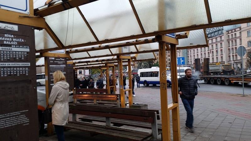 The morning in the center of town Riga stock photos