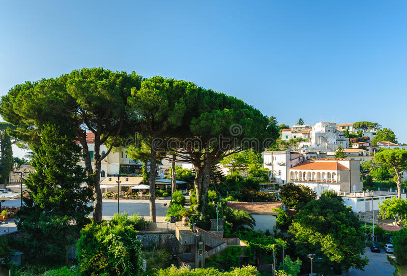 Morning at central square in Ravello, Italy. View of Ravello central square with cafes near Duomo, Campania, Italy stock photo