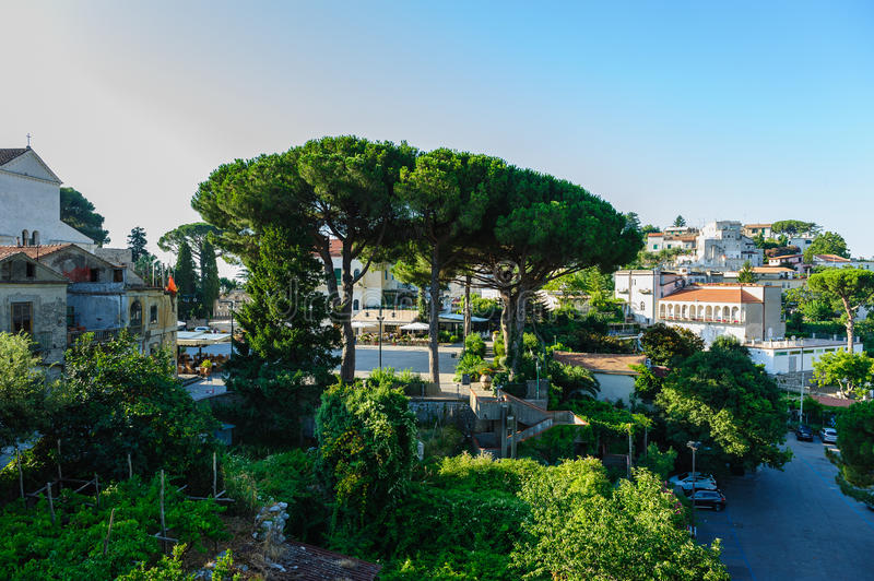 Morning at central square in Ravello, Italy. View of Ravello central square near Duomo, Campania, Italy royalty free stock photo