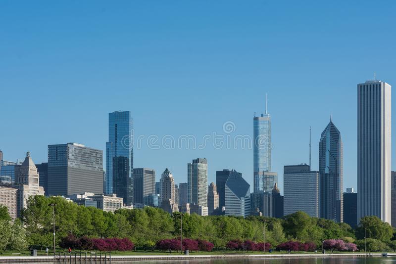 Morning cityscape panorama with famous skyscrapers taken from Michigan lake. USA stock photography