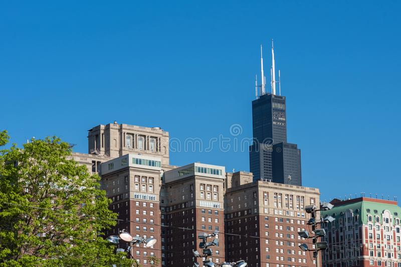 Morning cityscape panorama with famous skyscrapers taken from Michigan lake. USA royalty free stock images