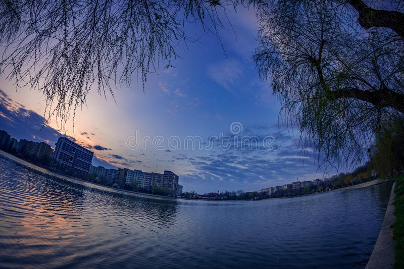 Morning cityscape scene in the spring with a residencial buildin royalty free stock photos