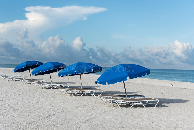 Morning at Clearwater Beach, Florida, USA. Sun umbrellas on Clearwater Beach, Florida, USA stock photography