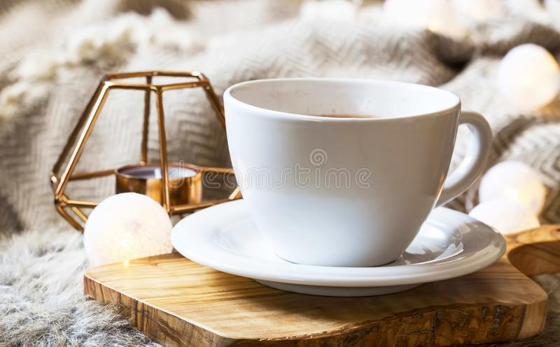 Morning coffe cup at home royalty free stock image
