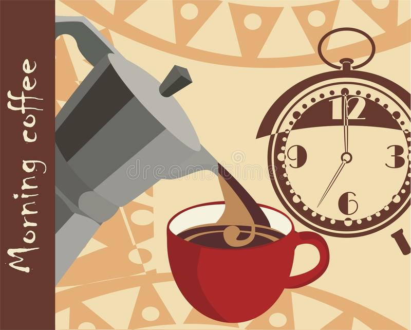 Morning coffee. Vector drawing of the morning coffee