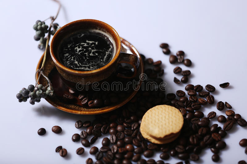 Morning coffee and biscuit stock photography