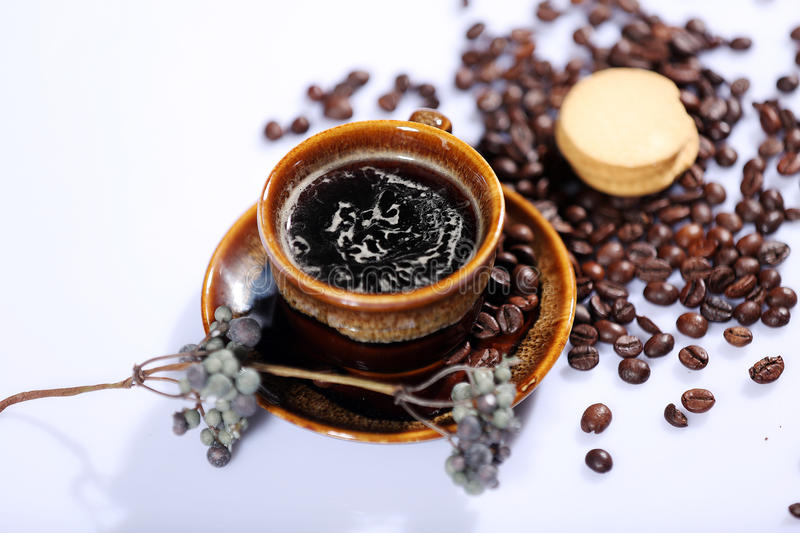 Morning coffee and biscuit royalty free stock photos