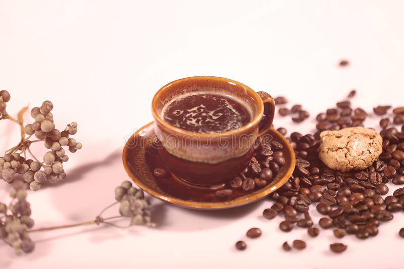 Morning coffee and biscuit royalty free stock photography