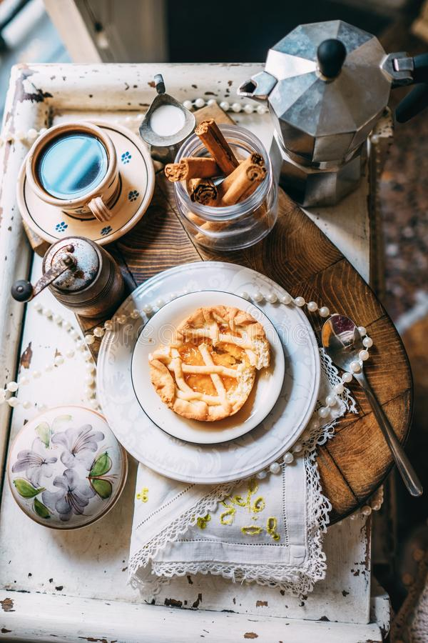Morning coffee with biscuits. Romantic vintage morning style life stock photos