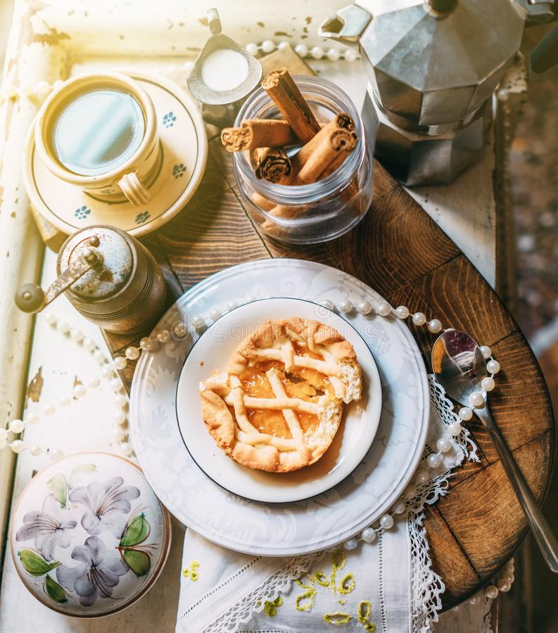 Morning coffee with biscuits. Romantic vintage morning style life royalty free stock photos
