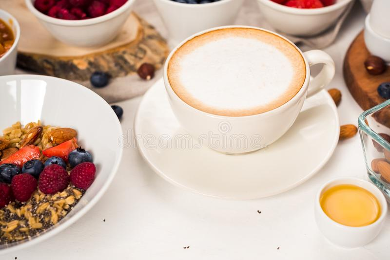 morning coffee breakfast, Cappuccino on white background. Good morning - healthy breakfast background royalty free stock photo