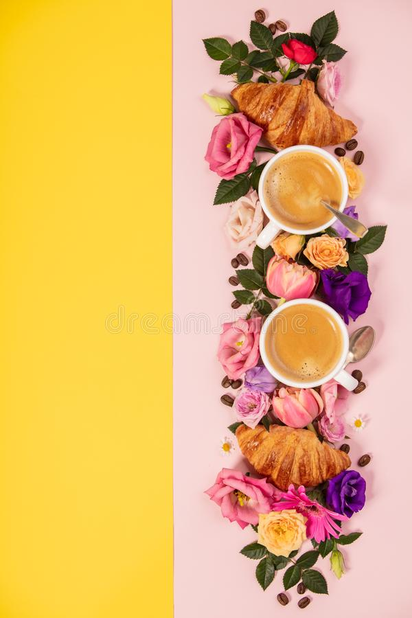 Morning coffee, croissants and a beautiful flowers . Flat lay st stock image