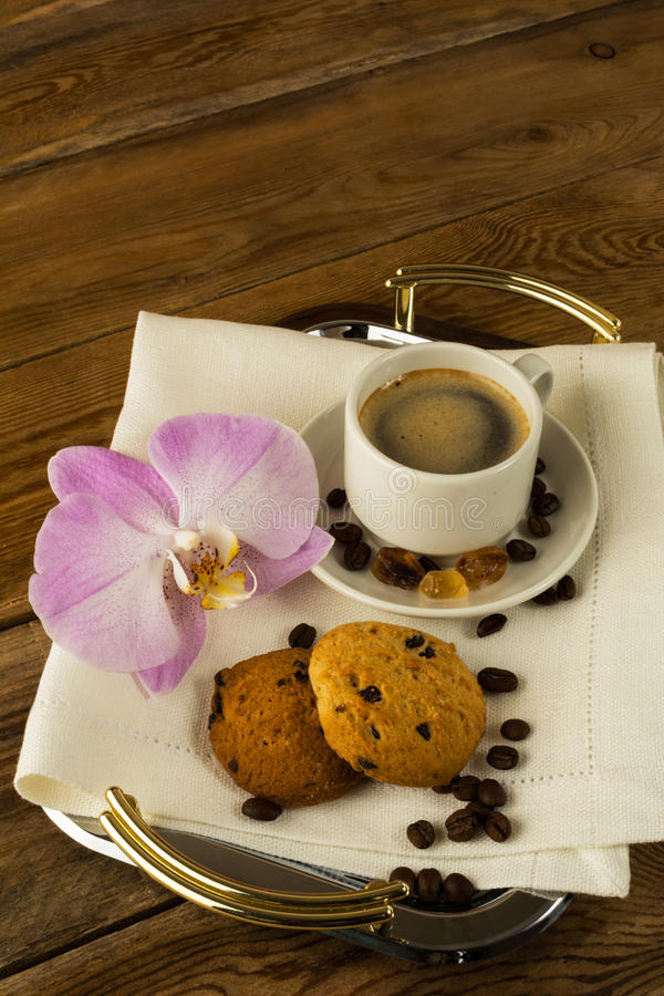 Morning Coffee cup on the serving tray royalty free stock images