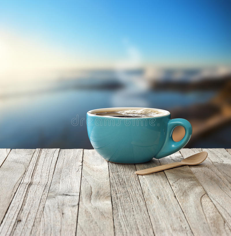 Wood Floor On Beach Sea And Blue Sky For Background Stock: Morning Coffee Cup Sky Background Stock Photo