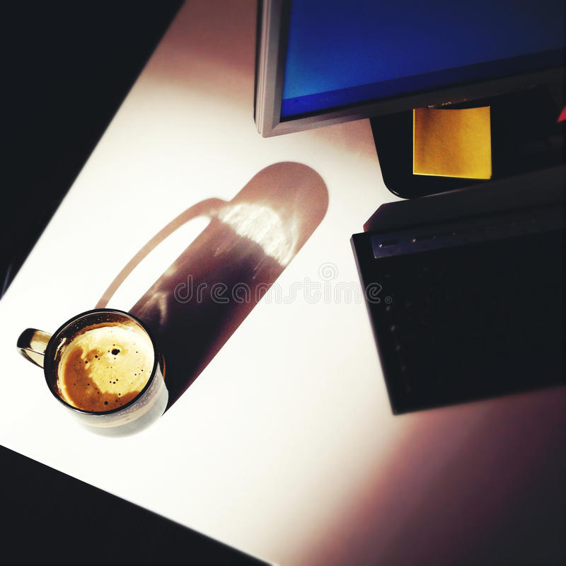 Download Morning coffee on desk stock image. Image of computer - 28471619