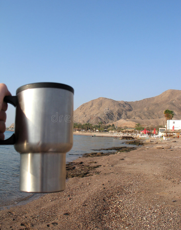 Morning coffee in Eilat. Morning in Eilat resort in Israel, near the red sea royalty free stock image