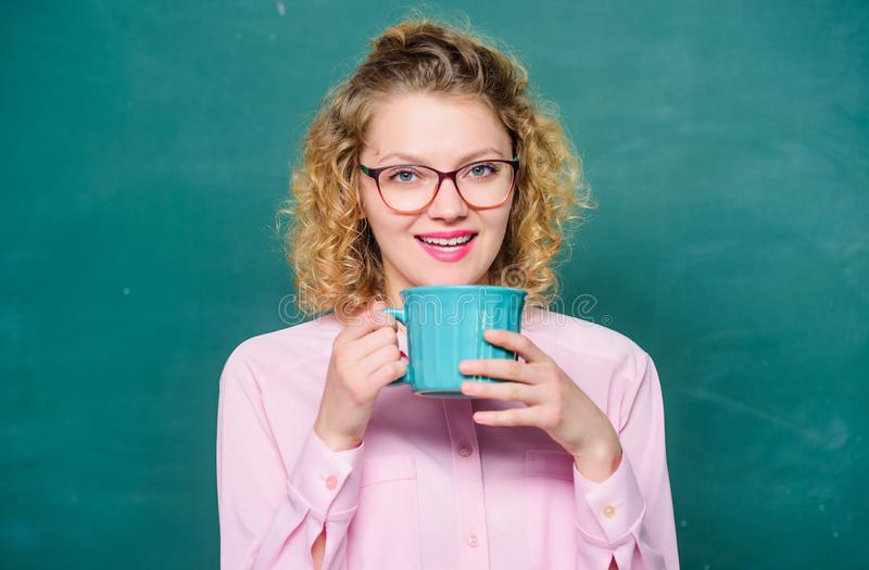 Morning coffee. good morning. girl refreshing with tea drink. idea and inspiration. energy and vigor. energy reserves stock photo