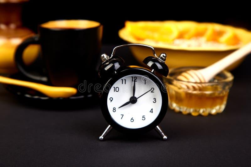 morning coffee granola breakfast alarm clock stock photo image