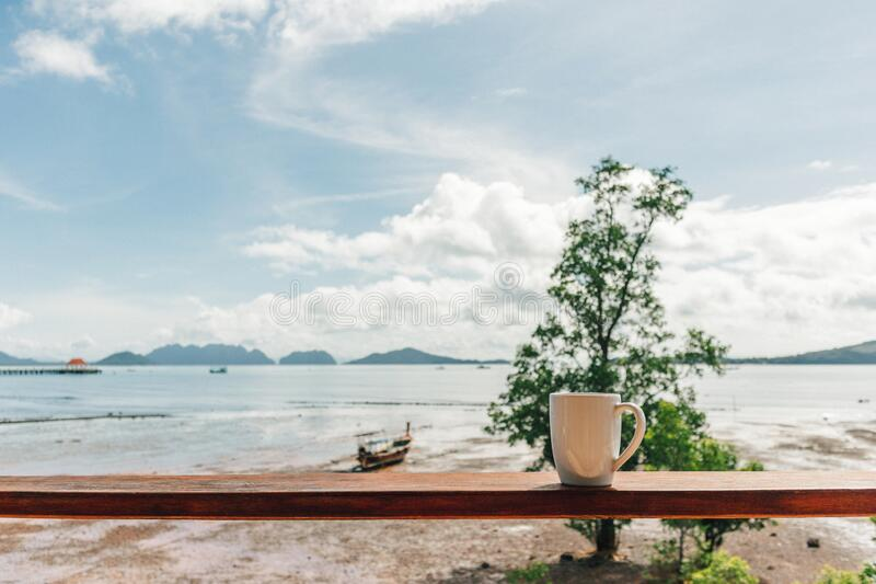 Morning coffee mug with low tide sea view. stock photos