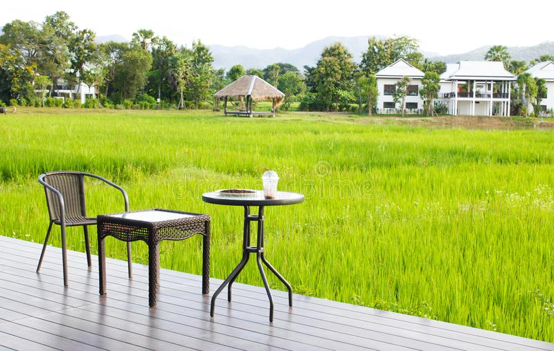 Morning coffee at the nature scenery of rice field background.  royalty free stock photos