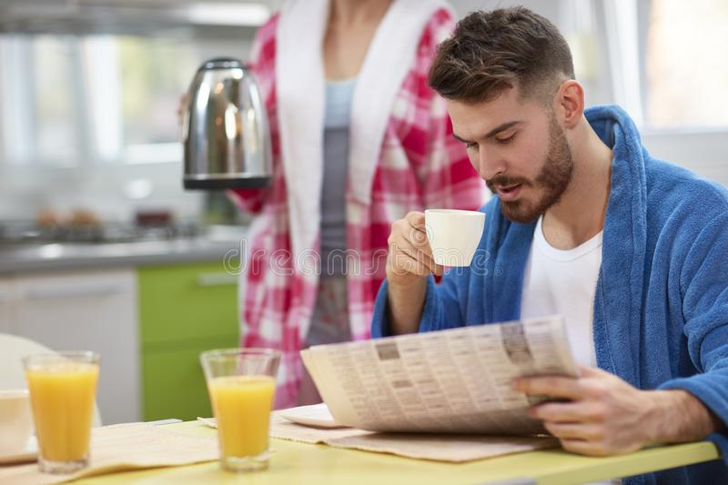 Morning with coffee and newspaper royalty free stock images