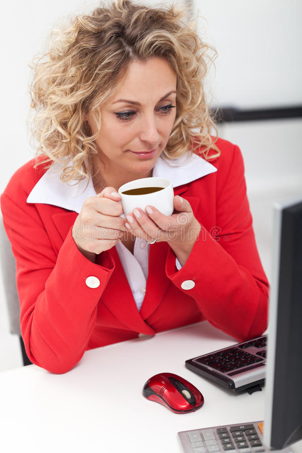 Download Morning Coffee In The Office Stock Image - Image: 22265615
