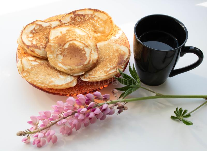 Morning coffee with pancakes cup. Morning coffee with pancakes background food cup dessert homemade coffee stock photo