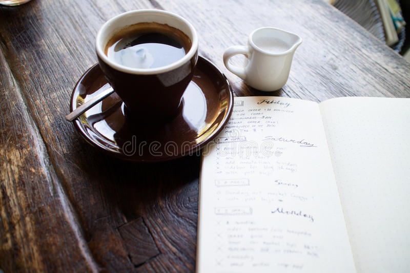 Morning coffee & planning my day stock photos