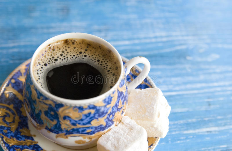 Morning coffee with turkish delight, close - up royalty free stock images