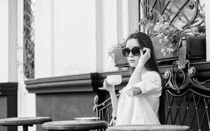 Morning coffee. Waiting for date. girl relax in cafe. Business lunch. summer fashion. Meeting in cafe. good morning royalty free stock photo
