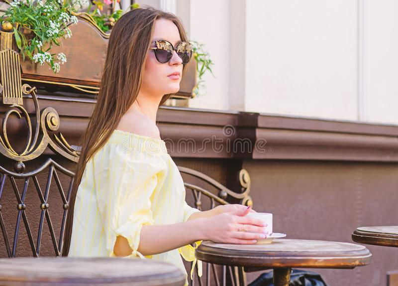 Morning coffee. Waiting for date. good morning. Breakfast time. girl relax in cafe. Business lunch. summer fashion. Beauty. Meeting in cafe. stylish woman in stock photos