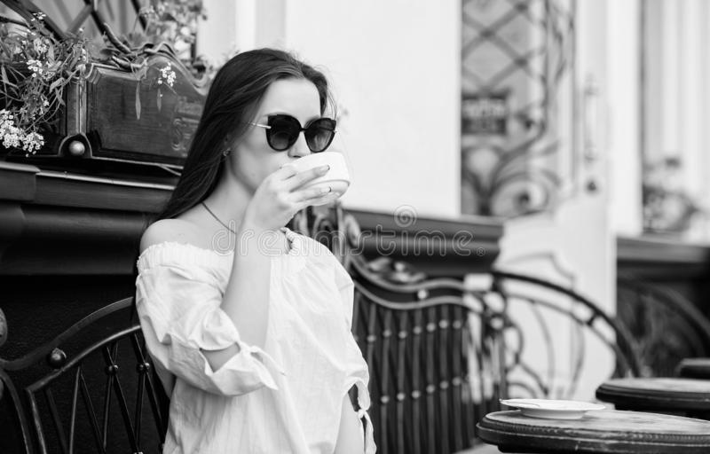 Morning coffee. Waiting for date. stylish woman in glasses drink coffee. summer. Lucky to start the day here. Meeting in. Cafe. good morning. Breakfast time stock photos