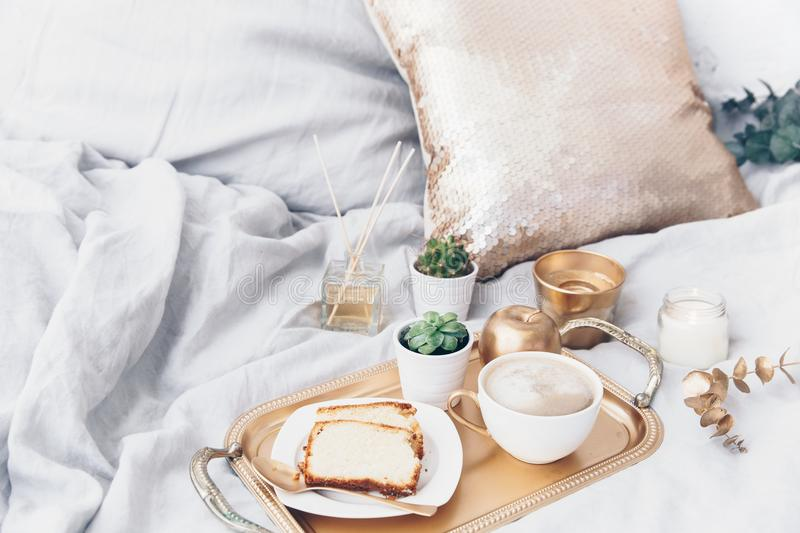 Morning composition with coffee on tray. Glamour breakfast royalty free stock photo