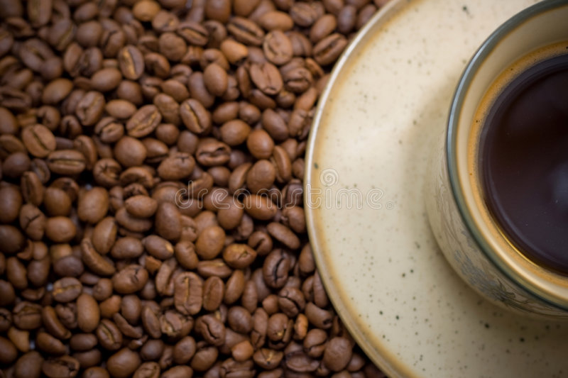 Morning cup of coffee in beans royalty free stock photo